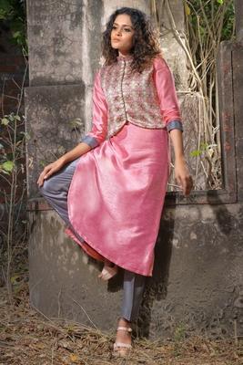 pink faux georgette art silk stitched kurti