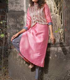 pink faux georgette art silk stitched kurti