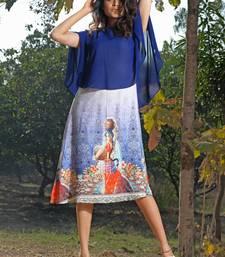blue faux georgette georgette stitched kurti