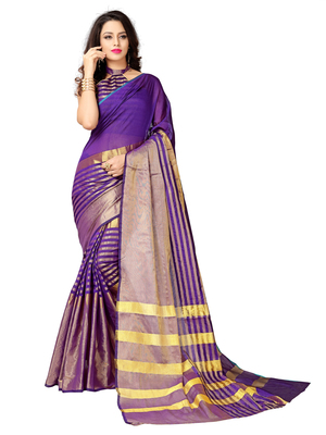 Multicolor woven chanderi saree with blouse