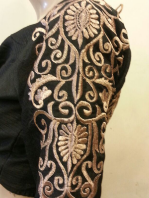 Black dupion silk long sleeves blouse