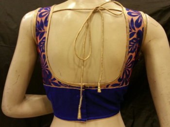 Blue dupion silk and emboss net blouse