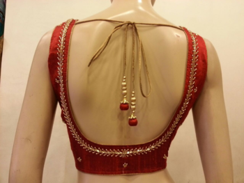 Maroon rawsilk handwork blouse.