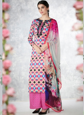 Multicolor Embroidered Pure Cotton Silk Semi Stitched Salwar With Dupatta