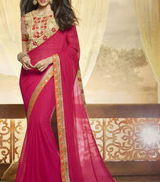 Buy Magenta embroidered chiffon saree with blouse wedding-saree online