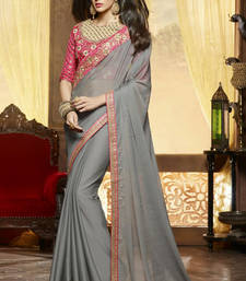 Buy Grey embroidered chiffon saree with blouse wedding-saree online