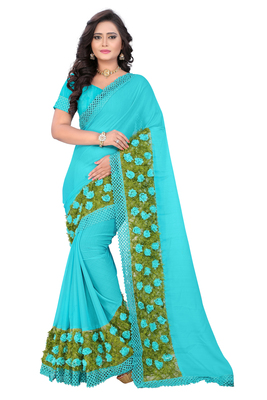 Sky Blue Woven Chiffon Saree With Blouse