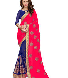 Buy Red embroidered georgette saree with blouse Woman online