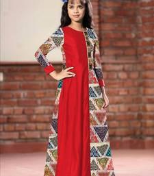Buy White Button Girl's Levish Red Long Chennai Silk Digital Print Ready Made Kids Wear Gown Dress kids-frock online