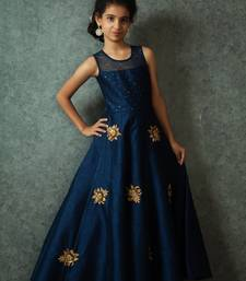 Buy White Button Girl's Latest Blue Banglori Silk Embroidery Patch Work ReadyMade Partywear Gown Dress kids-frock online