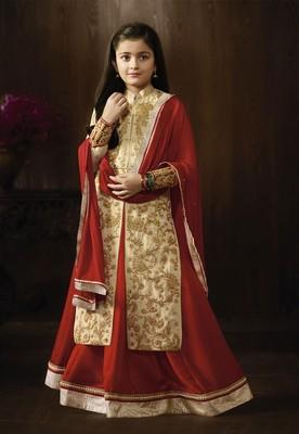 beige Dori Embroidery Work sharara kids salwar kameez