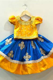 8ae84f5bbe55f White Button Baby Girl s Mustard N Blue Mirror Embroidery Cotton Silk  Readymade Wedding Wear Lehenga Choli