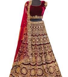 Buy Fabron Maroon embroidered semi velvet semi stitched lehenga choli with matching net dupatta lehenga-choli online
