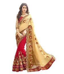 Buy Beige embroidered faux georgette saree with blouse designer-embroidered-saree online
