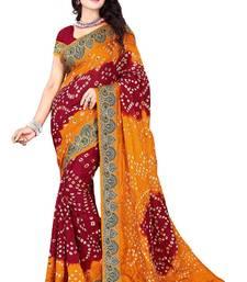 Buy Red embroidered art silk saree with blouse bandhani-sarees-bandhej online