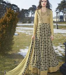 Buy gold embroidered georgette semi stitched salwar with dupatta semi-stitched-salwar-suit online