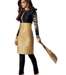 Buy Black embroidered brocade semi stitched salwar with dupatta party-wear-salwar-kameez online