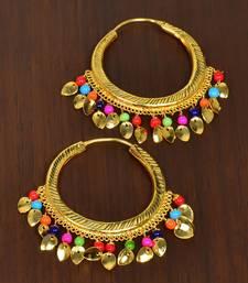 Multicolor BEADED PEEPAL PATTI hoops