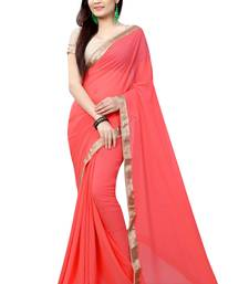 Buy raspberry plain pure_chiffon saree with blouse indian-dress online