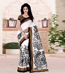 Buy White printed bhagalpuri cotton saree with blouse cotton-silk-saree online