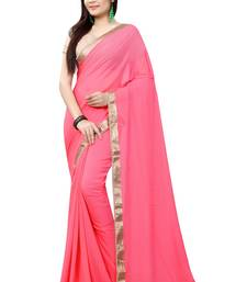 Buy pink plain pure_chiffon saree with blouse women-ethnic-wear online