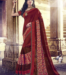 Buy maroon embroidered self-jacquard saree with blouse heavy-work-saree online