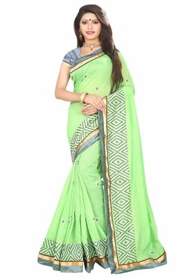 611e7d1dc44662 Light green embroidered cotton saree with blouse - Sai Trendz - 1968071