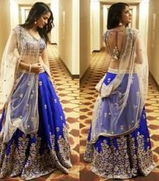 Buy Blue embroidered cotton unstitched lehenga lehenga-choli online