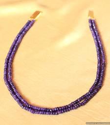 Semi Precious Amethyst Colour Two Line Necklace Set