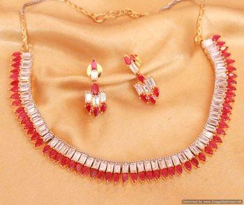 Ruby Diamond Look Elegant Necklace Set