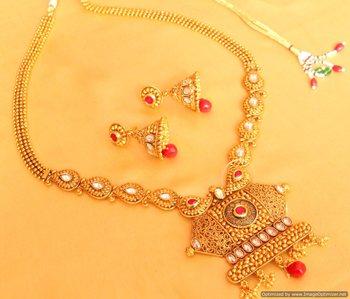 Paisley Pattern Polki Ruby Necklace Set