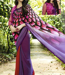 Buy multicolor printed georgette saree with blouse ombre-saree online