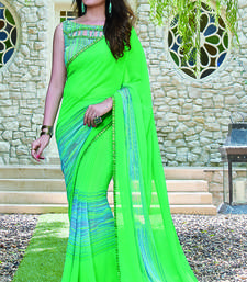 Buy turquoise printed georgette saree with blouse ombre-saree online