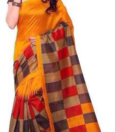 Buy orange printed art silk saree with blouse bhagalpuri-silk-saree online
