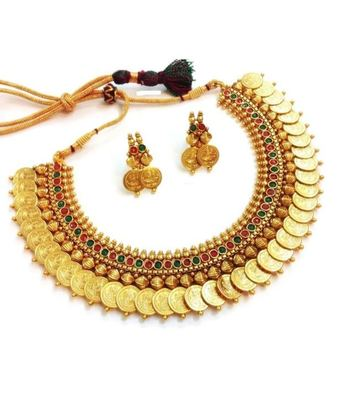 7d2ad9e6526b4 Traditional laxmi ji coin necklace gold plated red green stone .