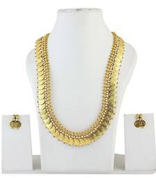 Buy Laxmi ji Coin White Pearl Traditional Maharani Gold Plated Necklace set necklace-set online