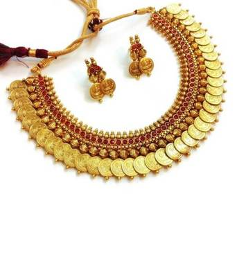 Traditional Laxmi Ji Coin Necklace Gold Plated Red Stone for women  and  Girls