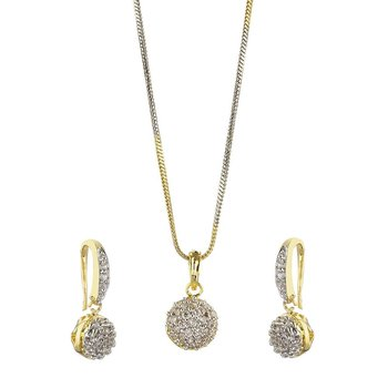 Round Ball American Diamond Pendant Necklace Set for Women  and  Girls
