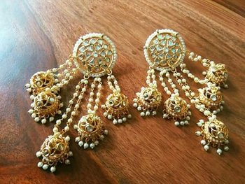 big kundan gold plated danglers