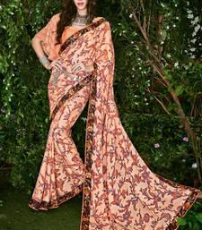 Buy Peach printed brasso saree with blouse brasso-saree online