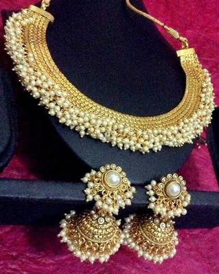South Indian Style Chandni Pearls Golden Adiva Copper