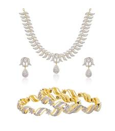 Buy Gold cubic zirconia necklece set with bangles bangles-and-bracelet online