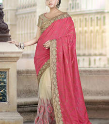 Buy Dark coral embroidered silk saree with blouse wedding-saree online