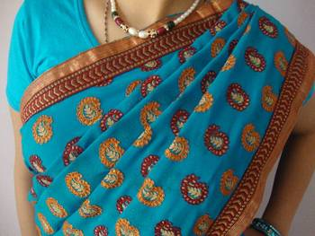 Blue Embroidery Saree