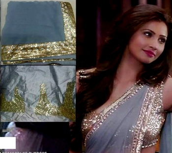 Indian Ethnic Replica Daisy Shah Grey Georgette Saree