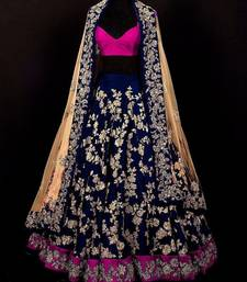 Buy Navy blue embroidered art silk unstitched lehenga indian-dress online