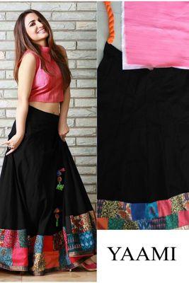 420d6ff8a Black printed silk semi stitched lehenga choli - Shree Impex - 1977666