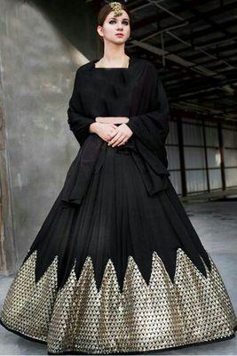 3447ea7fd Black embroidered silk lehenga choli - Shree Impex - 1977677