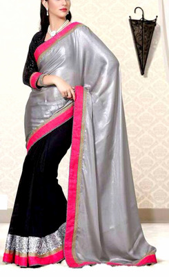 Indian Ethnic Beautiful Silver Chiffon Saree