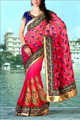 Indian Ethnic Replica Red Viscose Saree